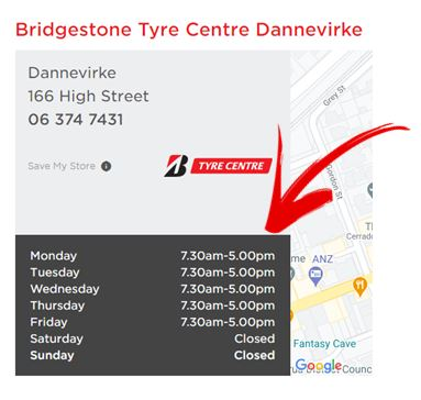 Bridgestone Tararua Opening Hours