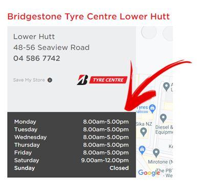 Bridgestone Tyre Centre Lower Hutt Opening Hours