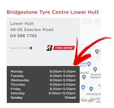 Bridgestone Tyre Centre Porirua Opening Hours