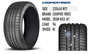 225/45 R17 ZEON RS3-G1 COOPER TIRES